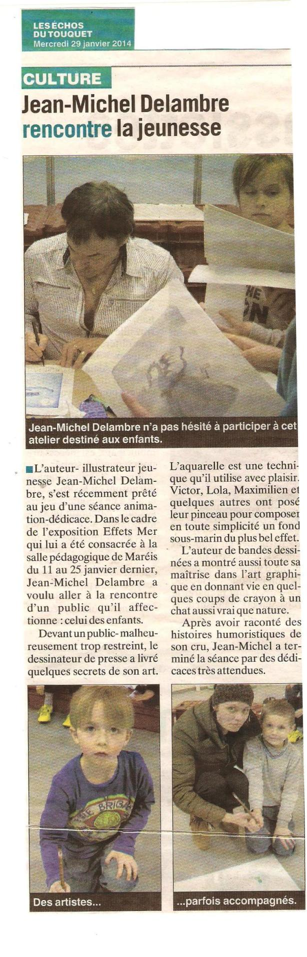 Expo Jean-Michel Delambre animation enfants article Les Echos 30 01 2014